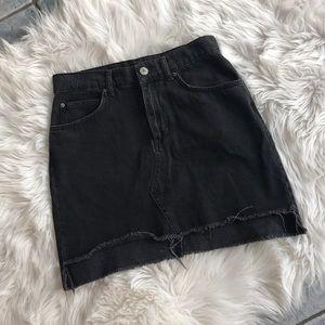 BDG Black Denim Skirt Hi-Lo